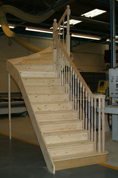 Pine Cut String Winder Staircase