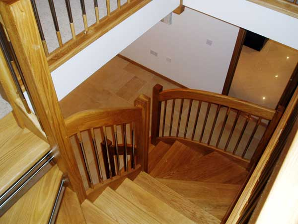 Oak european style staircase looking down