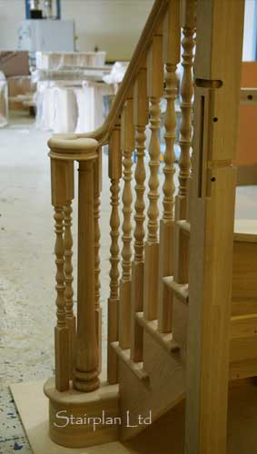 Oak Cut String Staircase with the Ascending volute