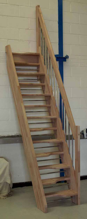 Openplan Spacesaver in Beech with the European style handrail