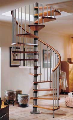 Gamia Wood Spiral Silver Grey Staircase