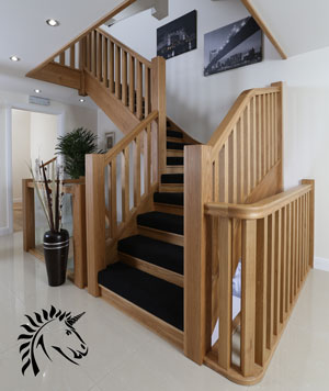 Design idea for oak staircases the manhattan with half carpet for chunky design effect