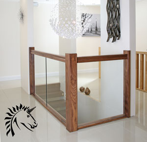 Milan Glass Balustrade weith Black Walnut handrails