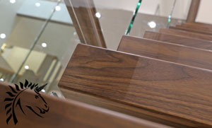 x vision staircase floating treads walnut and glass