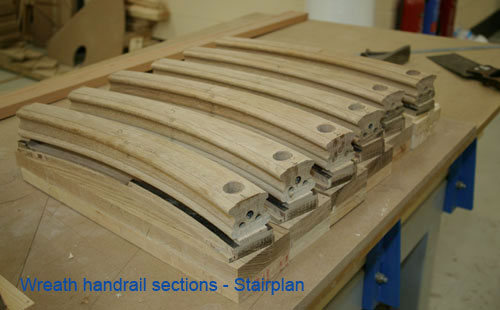 Wreath handrail sections straight off the machine